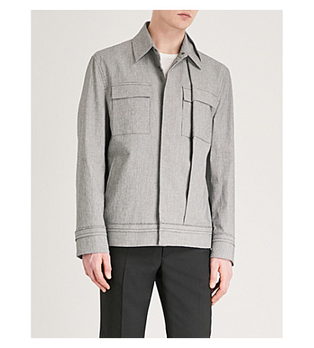 CHALAYAN Houndstooth folded cotton-blend jacket (Black