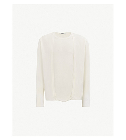 CHALAYAN Cardigan-panel cotton-jersey top (White