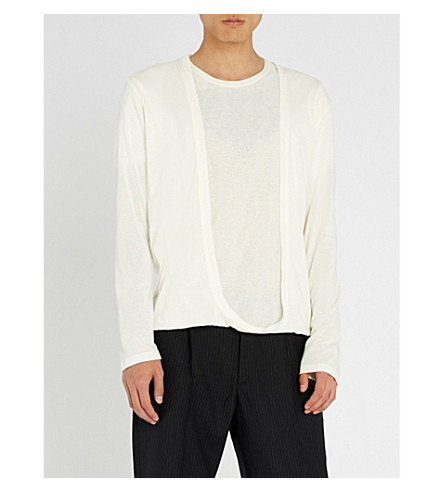 CHALAYAN Cardigan-panel cotton-jersey top (White