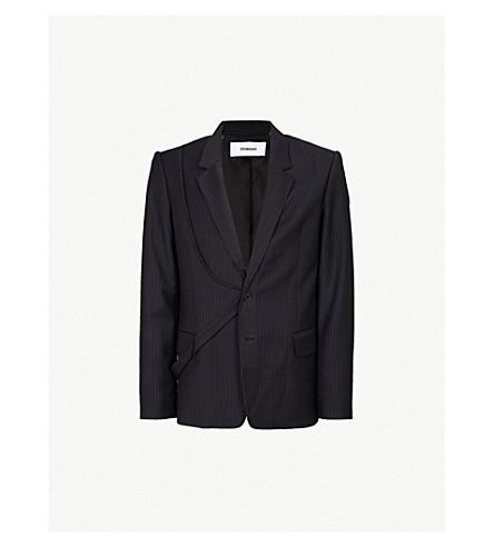 CHALAYAN Striped regular-fit woven jacket (Black+grey