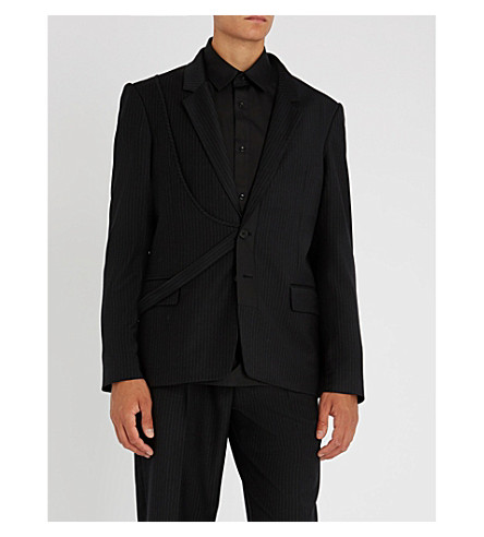 CHALAYAN Striped regular-fit woven jacket (Black+grey