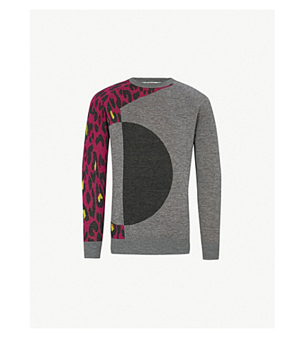 CHALAYAN Leopard-sleeve wool jumper (Grey