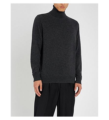 CHALAYAN Split neck cashmere turtleneck jumper (Charcoal
