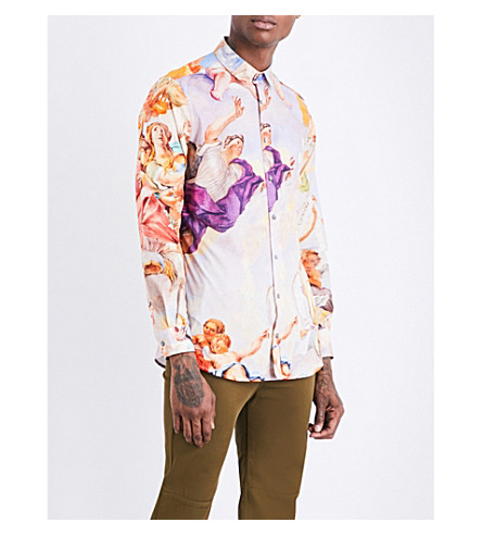 MOSCHINO Baroque-print regular-fit cotton-poplin shirt (Multi