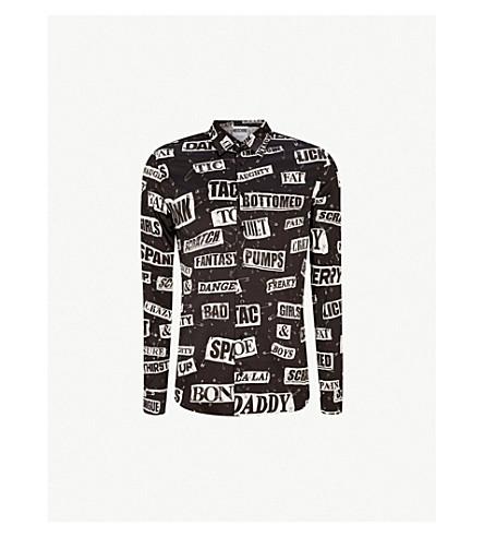 MOSCHINO Cut out-print slim-fit stretch-cotton shirt (Black