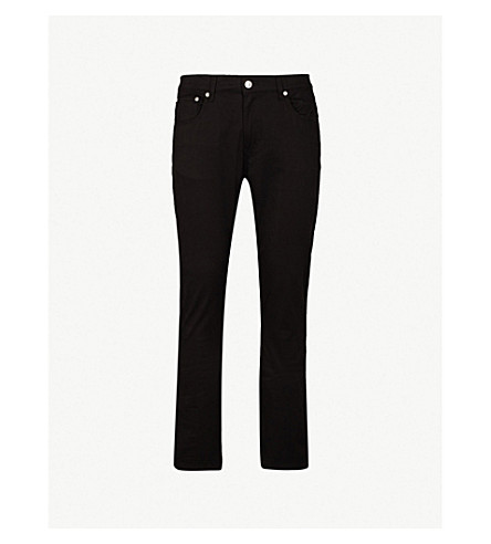 MOSCHINO Slim-fit straight stretch-cotton jeans (Black