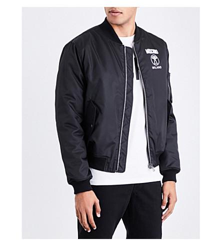 MOSCHINO Branded-print shell bomber jacket (Black
