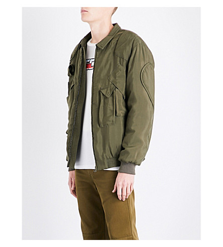 MOSCHINO Pocket-detailed satin jacket (Khaki