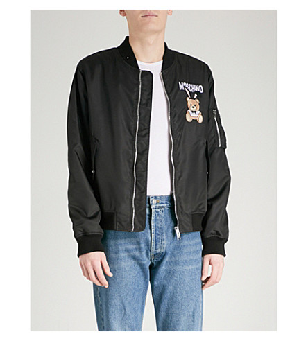 MOSCHINO Bunny Bear shell bomber jacket (Black