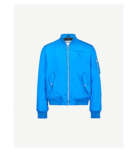 MOSCHINO Double logo shell jacket (Blue