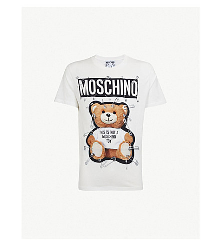MOSCHINO Bear-print cotton-jersey T-shirt (White