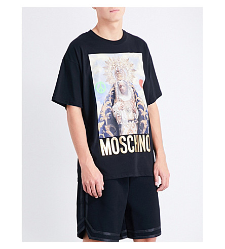 MOSCHINO Virgin Mary cotton T-shirt (Black