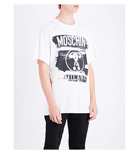 MOSCHINO Logo-print cotton T-shirt (White