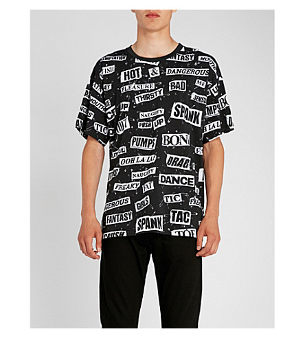 MOSCHINO Cut out-print cotton-jersey T-shirt (Black