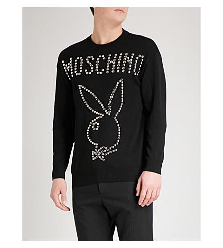 MOSCHINO Studded Bunny wool sweatshirt (Black
