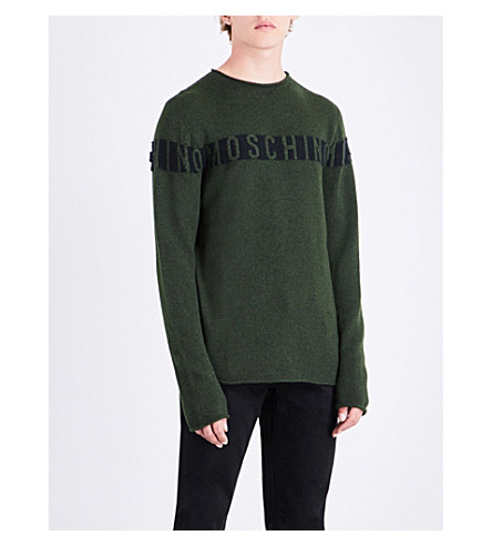 MOSCHINO Logo wool and silk-blend jumper (Khaki