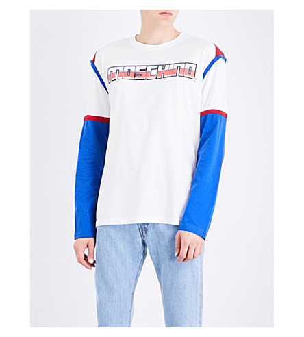 MOSCHINO Transformer logo cotton-jersey top (White