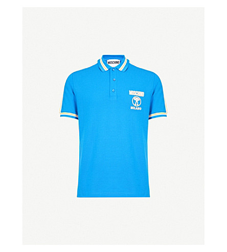 MOSCHINO Striped-trim cotton-piqué polo shirt (Blue
