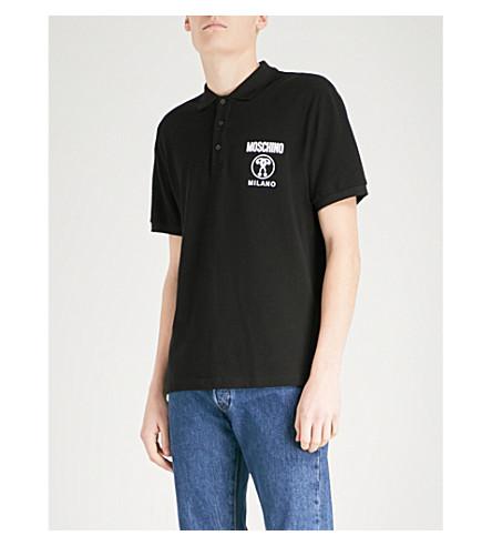 MOSCHINO Logo-detail cotton-piqué polo shirt (Black