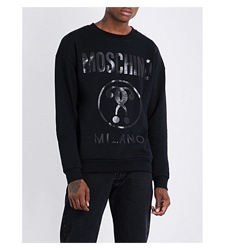 MOSCHINO Logo-print cotton-jersey sweashirt (Black