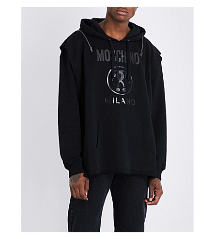 MOSCHINO Logo-print cotton-jersey hoody (Black