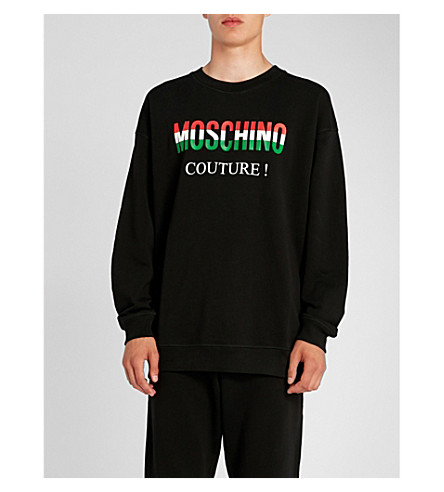 MOSCHINO Baroque-print cotton-jersey sweatshirt (Black