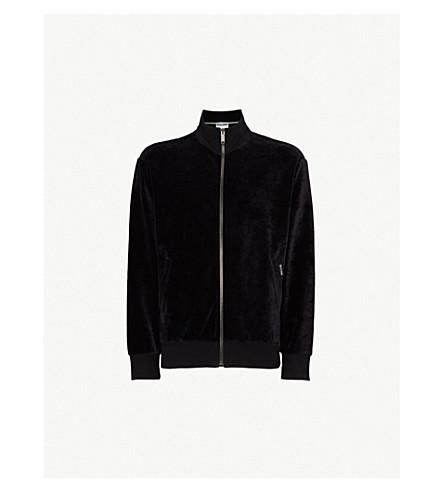 MOSCHINO Logo-embroidered velvet bomber jacket (Black