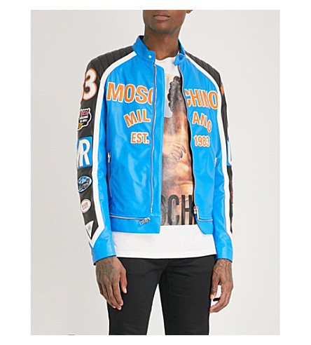 MOSCHINO Logo-appliqué leather jacket (Blue