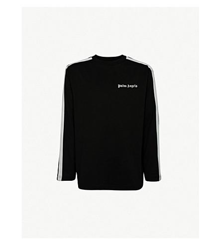 PALM ANGELS Side-stripe jersey sweatshirt (Black+white