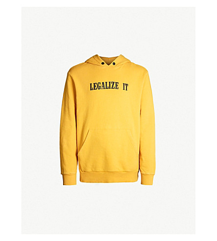PALM ANGELS Legalize It cotton-jersey hoody (Yellow black