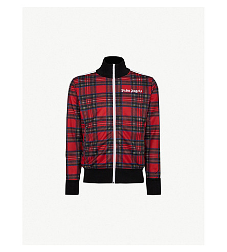 PALM ANGELS Logo-embroidered checked jersey jacket (Tartan