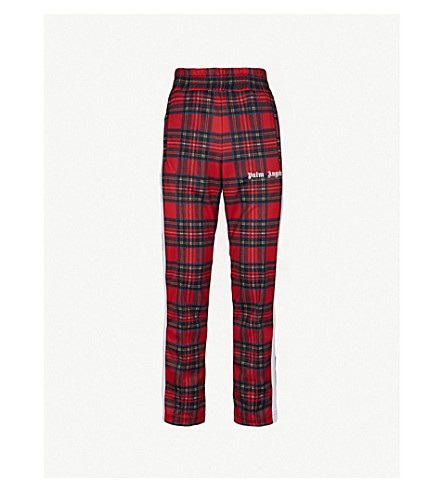 PALM ANGELS Logo-embroidered checked jersey jogging bottoms (Tartan