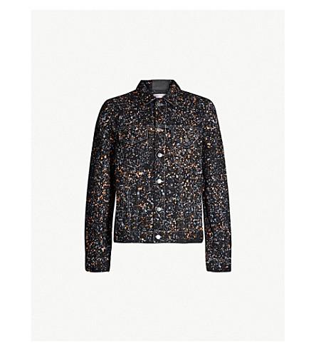 PALM ANGELS Paint-splashed denim jacket (Black+multicolor