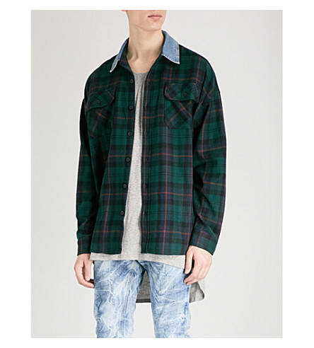 FEAR OF GOD Denim-trimmed wool-blend shirt (Green+plaid