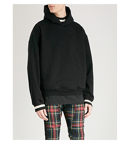 FEAR OF GOD Stripe-trimmed cotton-jersey hoody (Black