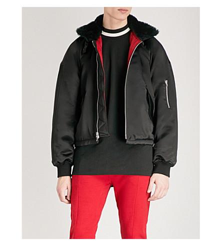 FEAR OF GOD Faux fur-trimmed satin bomber jacket (Black