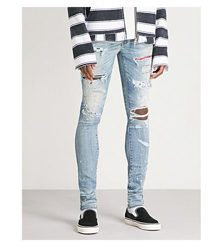 AMIRI Distressed slim-fit skinny jeans (Classic+indigo