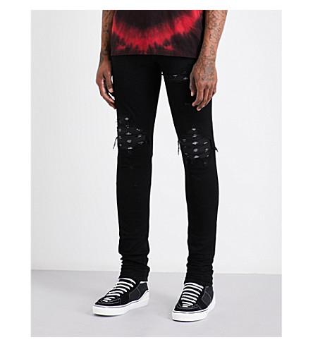 AMIRI MX1 distressed slim-fit skinny jeans (Black+black