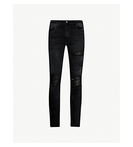 AMIRI Leather patch slim-fit skinny jeans (Aged+black