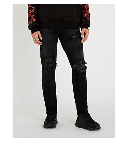 AMIRI皮革补丁修身版型紧身牛仔裤 (老年 + 黑色
