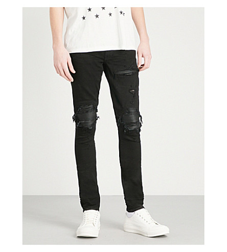 AMIRI Leather patch slim-fit skinny jeans (Black