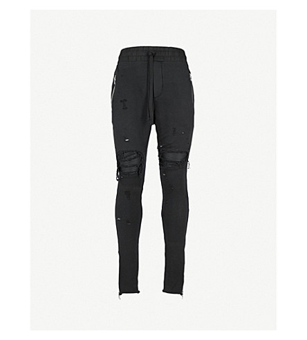 AMIRI MX1 distressed cotton-jersey jogging bottoms (Black