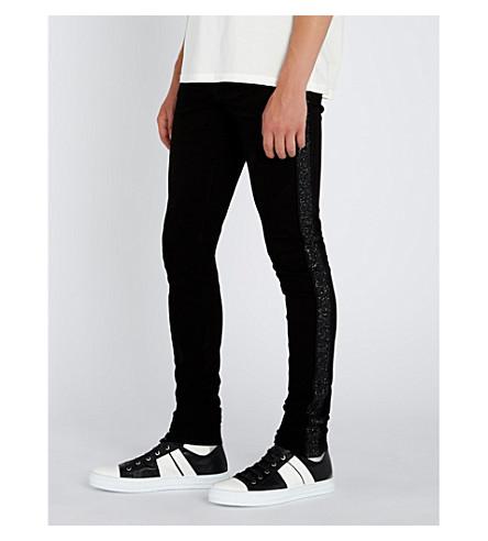 AMIRI Glitter-stripe slim-fit skinny jeans