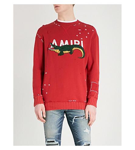 AMIRI Appliquéd distressed cotton-jersey sweatshirt (Red