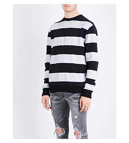 AMIRI Striped cotton-jersey sweatshirt (Black+white
