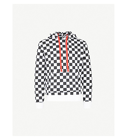 AMIRI Checked cotton-jersey hoody (Black++white