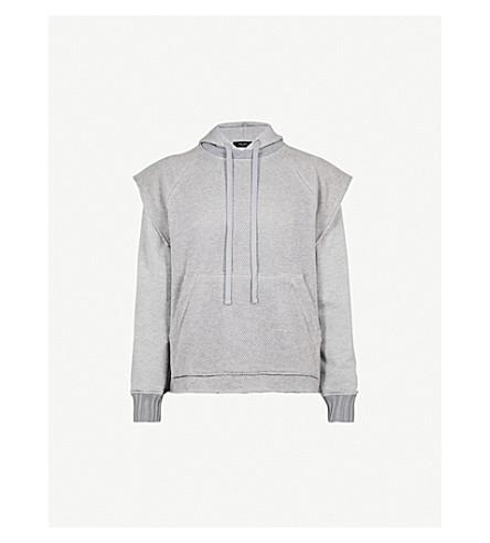 AMIRI Mesh-overlay cotton-jersey hoody (Heather+grey