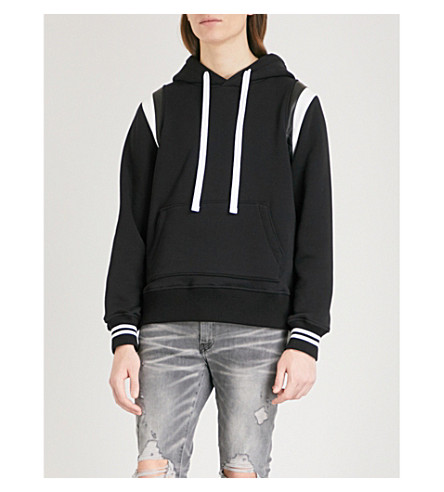 AMIRI Leather-trimmed cotton-jersey hoody (Black