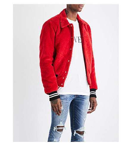 AMIRI Striped-trims cotton bomber jacket (Red