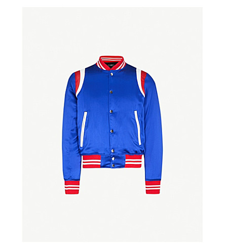 AMIRI Leather-trimmed silk bomber jacket (Blue